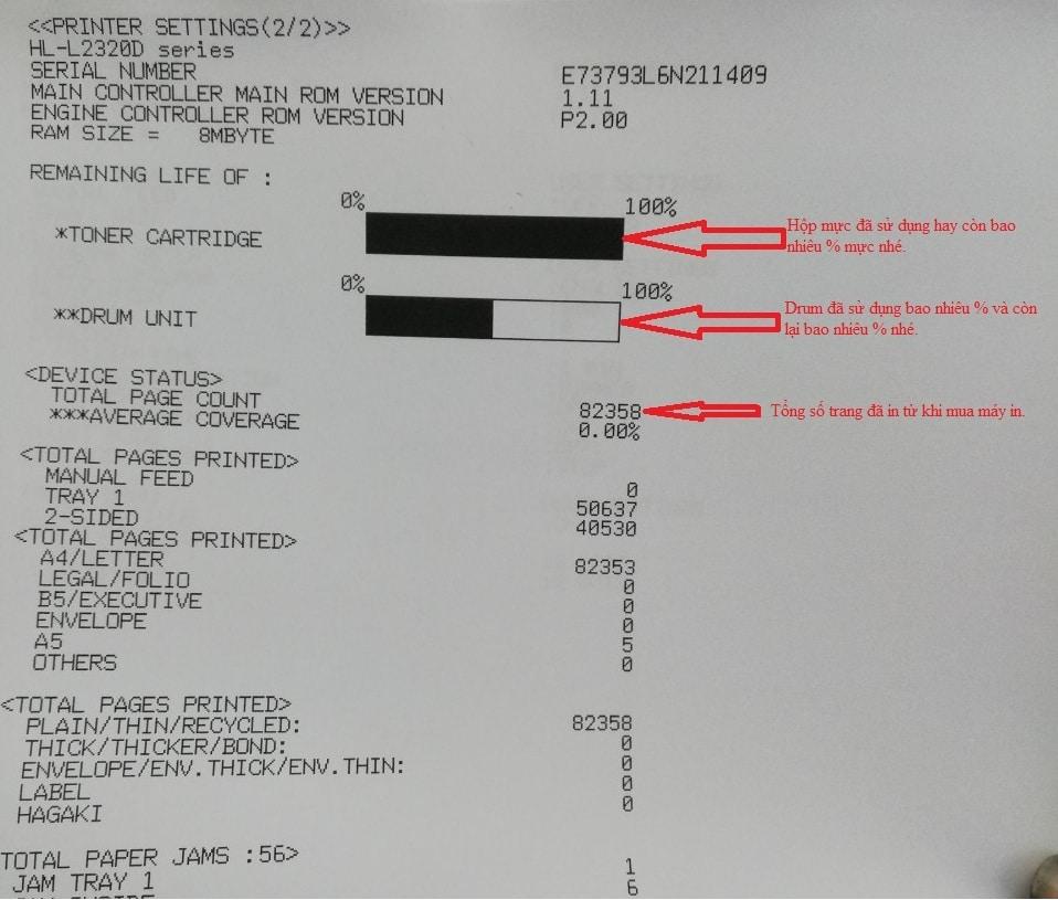 Cách in kiểm tra số trang in xerox P115w