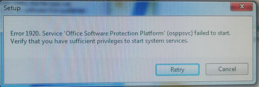 Office 2010 lỗi Setup Error 1920